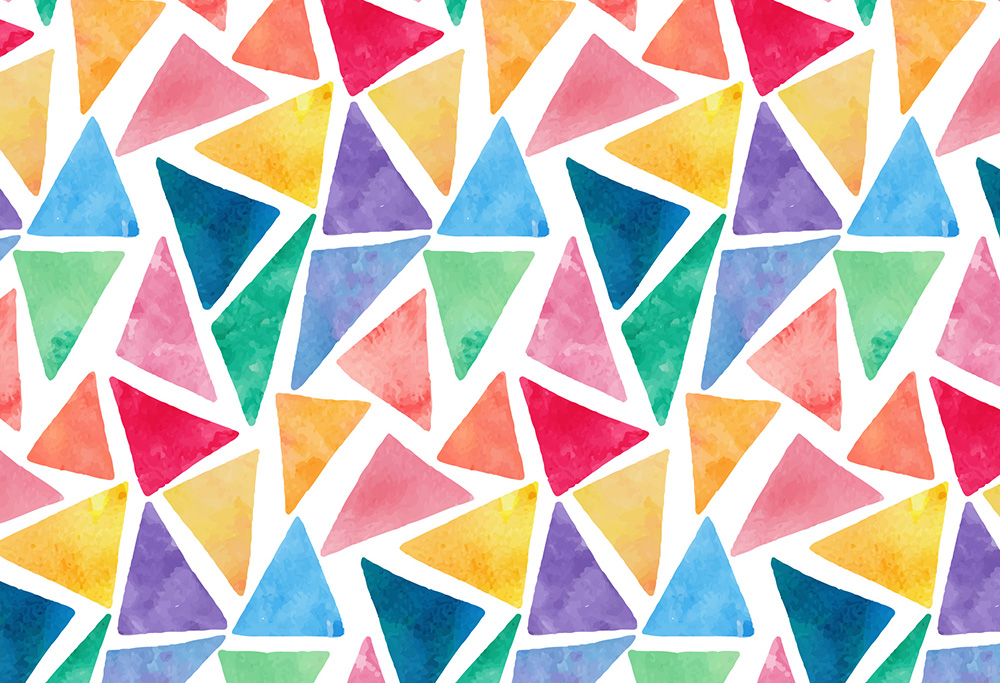 Colorful watercolor triangles pattern 2