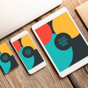 mockup Business Card and Apple Devices
