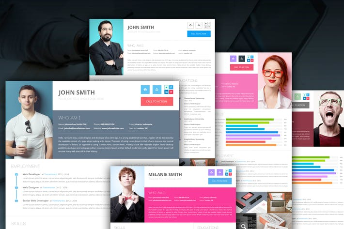 Clean Onepage Resume PSD Template