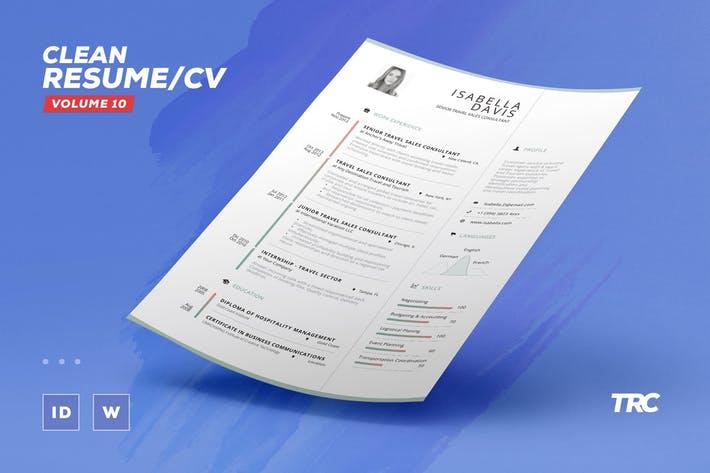 Clean Resume / Cv Template Volume 10