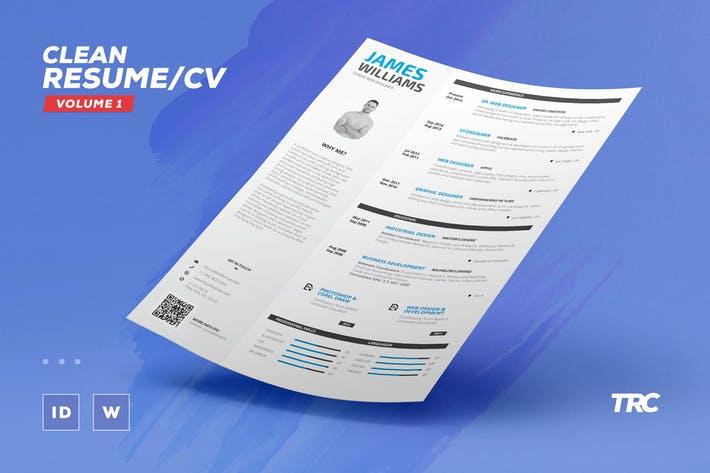Clean Resume/Cv Volume 1