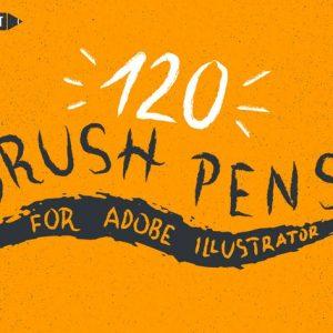 120 Brush Pens for Adobe Illustrator