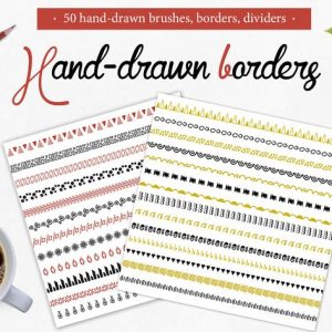 50 handdrawn brushes, borders, dividers