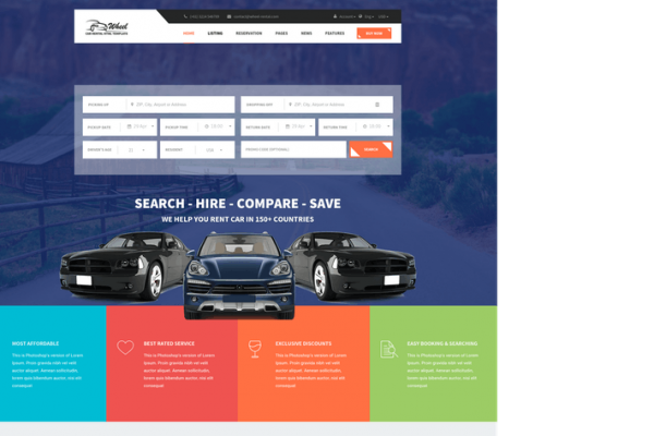 Wheel - Car Rental & Booking Responsive and Modern