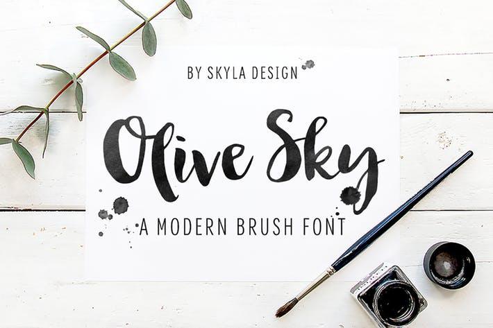 Bold modern brush font - Olive Sky