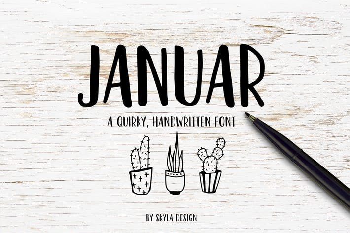 Quirky handwritten font, Januar