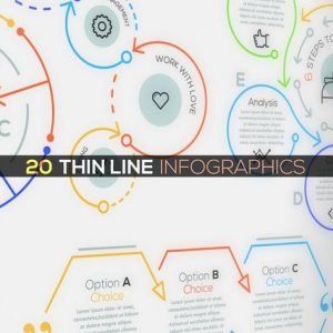 20 Thin Line Infographics