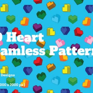 3D Heart Seamless Patterns
