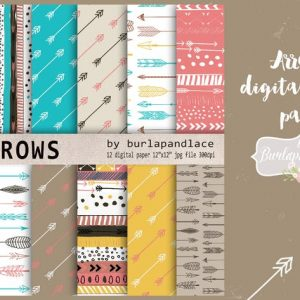 Arrows digital paper pack natural