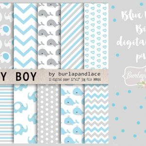 Baby boy digital paper pack