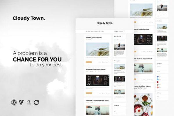 Cloudy Town - Clean Minimal Blog WordPress Theme