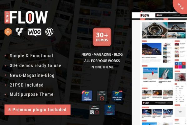 flow news magazine and blog wordpress theme