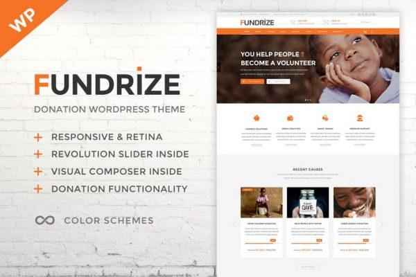 fundrize responsive donation charity wordpress
