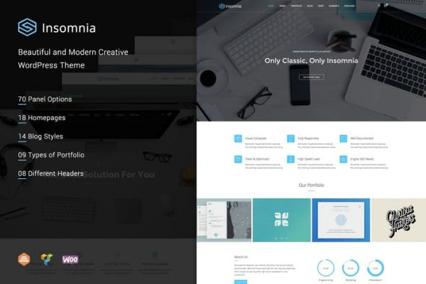 insomnia beautiful and modern creative wordpress