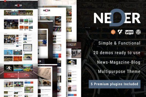 neder wordpress news magazine and blog theme