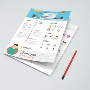 Simple Flat Resume with Infographics