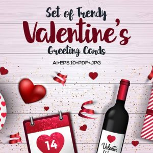 Trendy Valentines Day greeting Cards Design