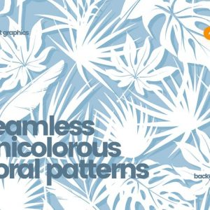 Unicolorous Seamless Floral Patterns / Backgrounds