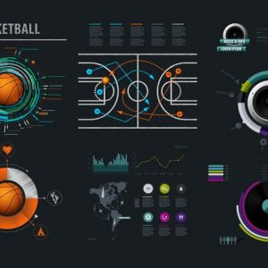 Vector infographics element with basketball Ball