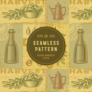 Vintage Olive Harvest Pattern