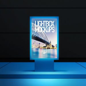 3D Lightbox Poster Outdoor Mock-up