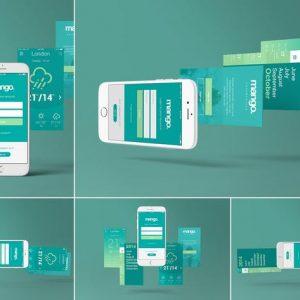 Five iPhone 6 Perspective App Screen Mockups