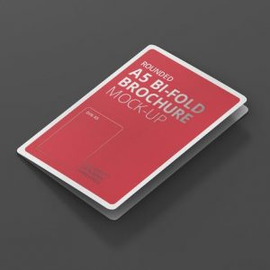 A5 Bi-Fold Brochure Mock-Up - Round Corner