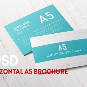 A5 Tri-Fold Horizontal Brochure Mock-up