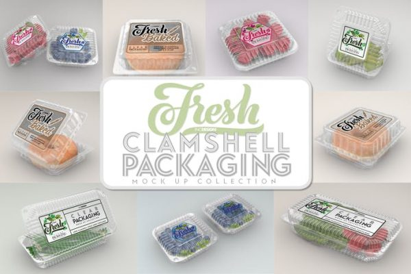 Clear Clamshell Containers Fresh Packaging Mockups