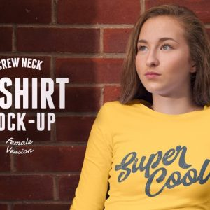 Crew Neck T-shirt Mock-up Female Version