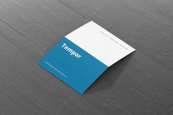 Folded Business Card Mockup - Horizontal