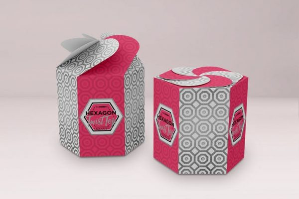Hexagon Twist Top Candy Gift Box Packaging Mock Up