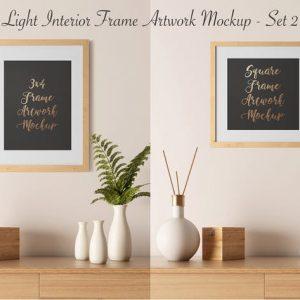 Light Interior Frame Artwork Mockup - Set 2