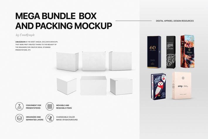 Mega Bundle Box and Packing Mockups
