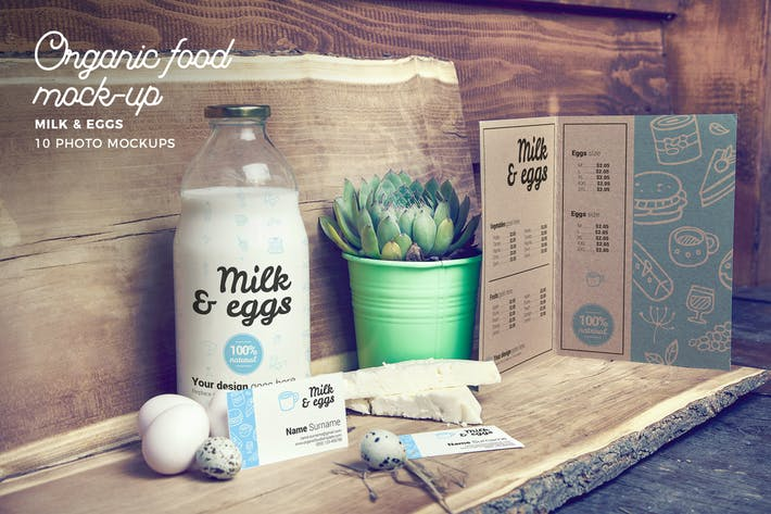 Organic Food Photo Mockup / Milk & Eggs