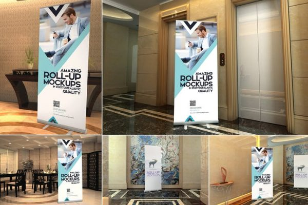 Roll-up Banner Mockup PSD