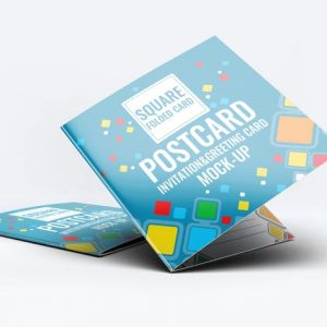 Square Invitation Greeting Card Mock-Up