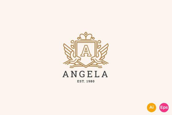 Angela - Letter A Heraldry Logo Template