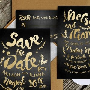 Black & Gold Hipster Invitation