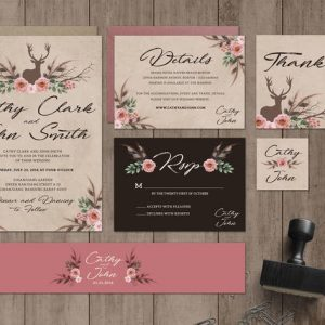 Boho Wedding Invitation Set
