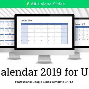 Calendar 2019 US for Google Slides