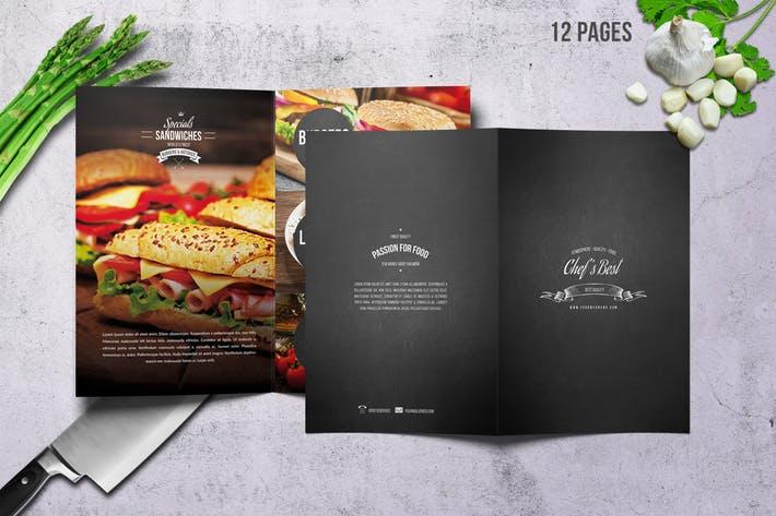 Chef's Bifold Restaurant Menu - A4 &US Letter 12p