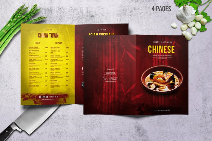 Chinese A4 & US Letter Food Menu