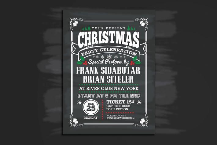Christmas Party Celebration Flyer Chalk Style