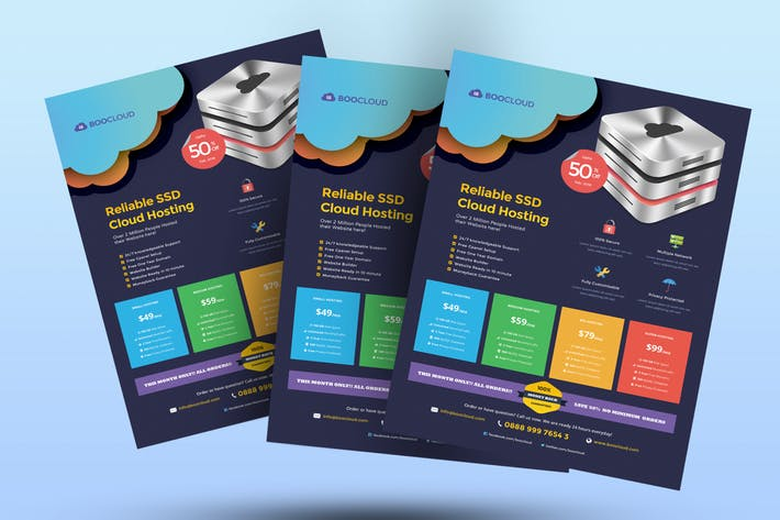Cloud Hosting Flyer - Server Mini Graphic Included