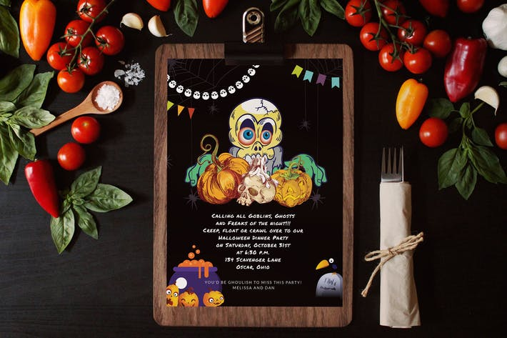 Halloween Dinner Invitation Card