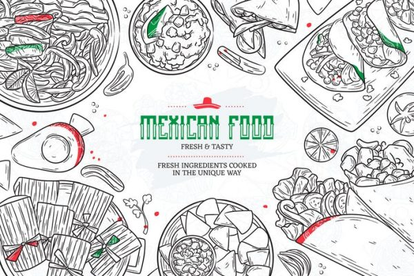 Hand Drawn Mexican Food Sketches