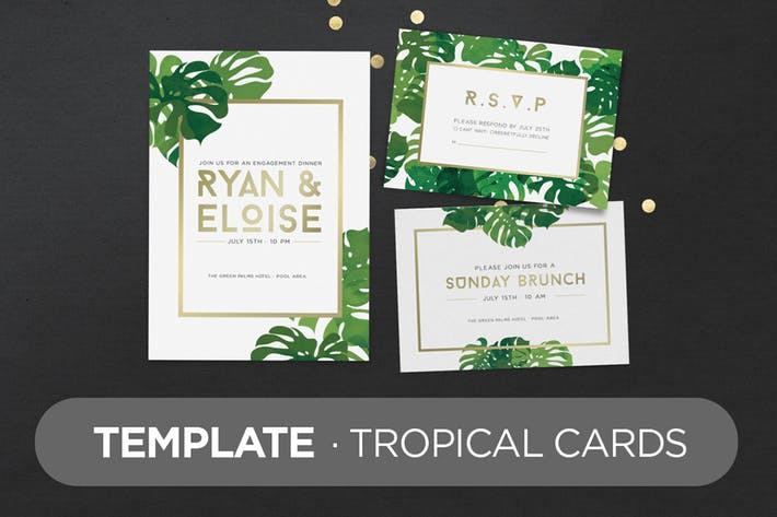 Invitation Greeting Cards Tropical Mock-Up