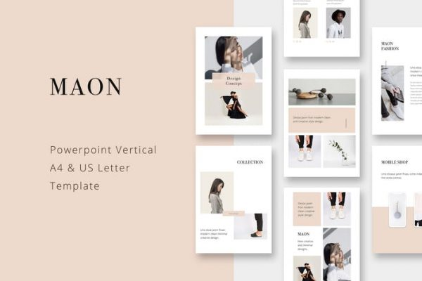 MAON - Vertical Powerpoint A4 + US Letter Template