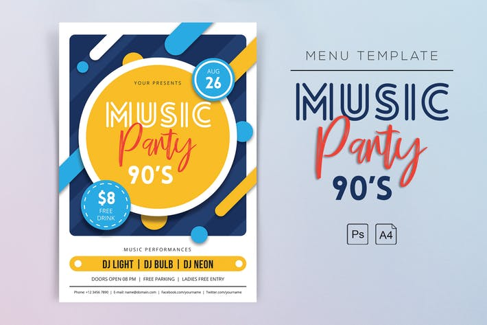 Music Party 90s Flyers